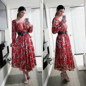 Handmade 100% Silk Floral Dress Sz M